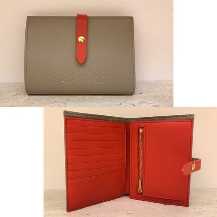 ★NEW★【CELINE】Strap ミディアム財布 (Light taupe×Red)