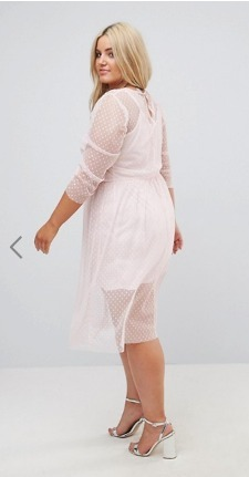 ASOS CURVE Ruched ミデイドレス In Spot Mesh