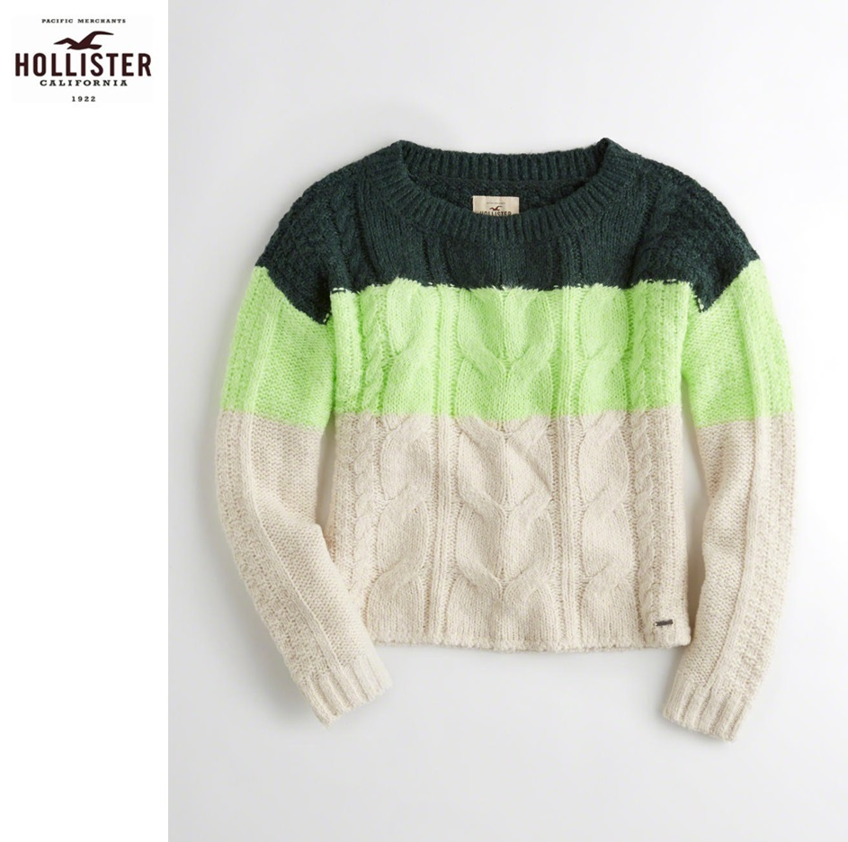 ★送料込★Hollister★Crewneck Cable Knit Sweater★