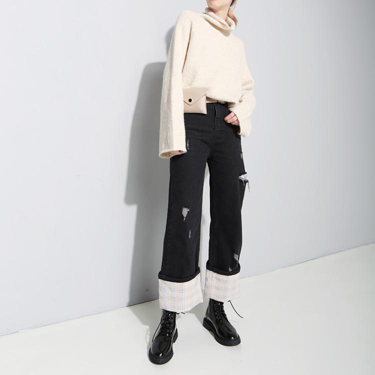 Oh Hey Girl / Checked Turn Up Jeans ロールアップジーンズ