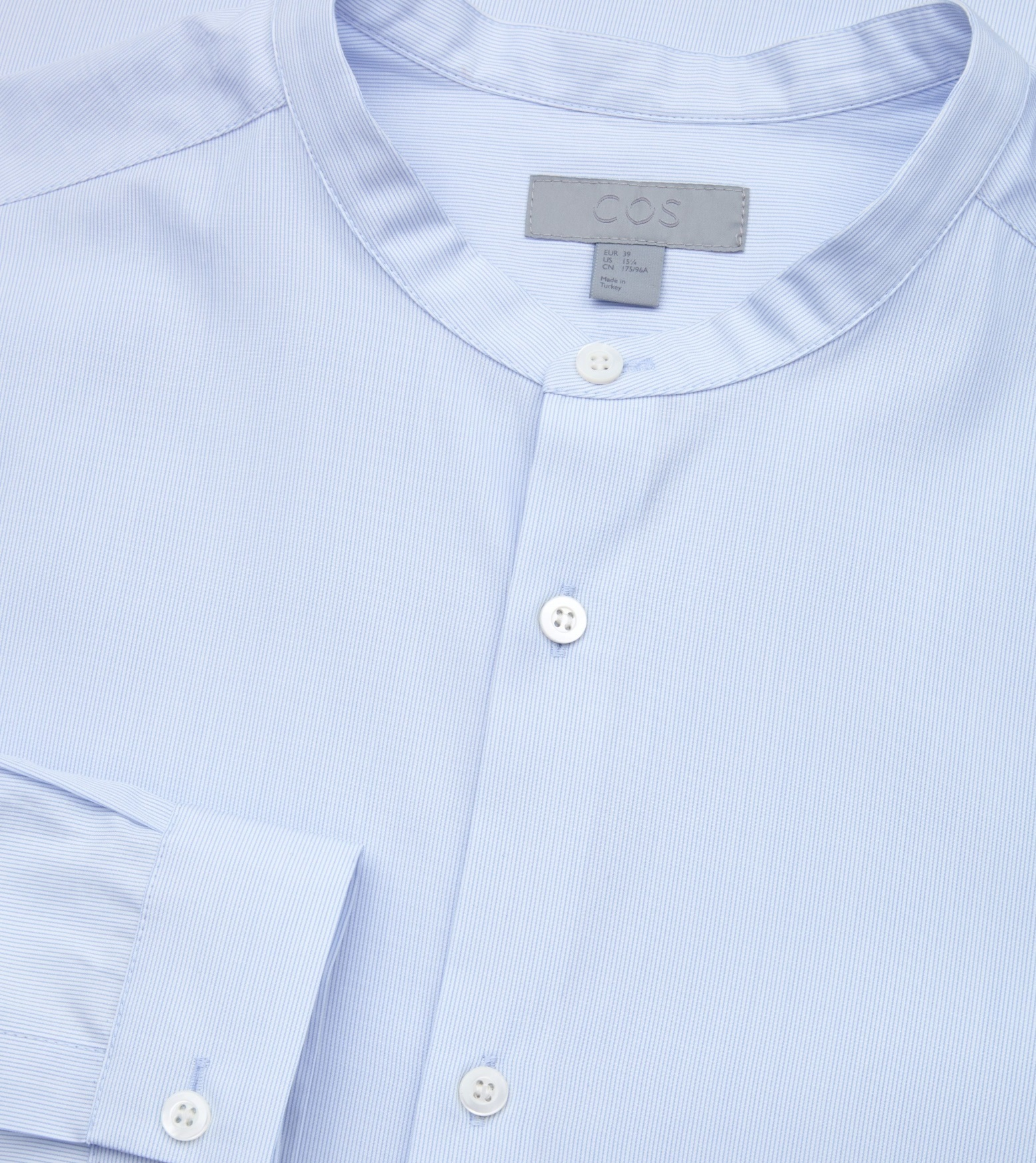 """COS MEN""FINE-STRIPED GRANDAD SHIRT GRAY"