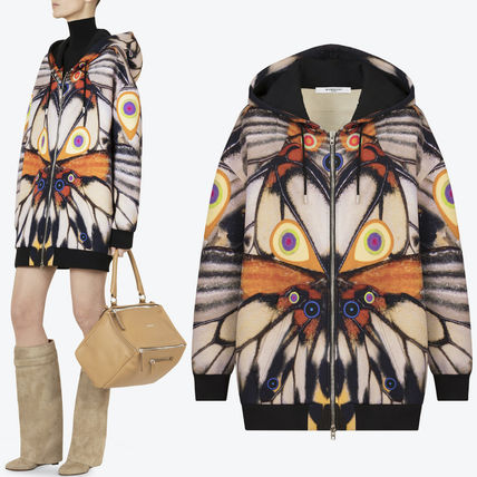 17-18AW G159 BUTTERFLY PRINTED OVERSIZE NEOPRENE HOODIE