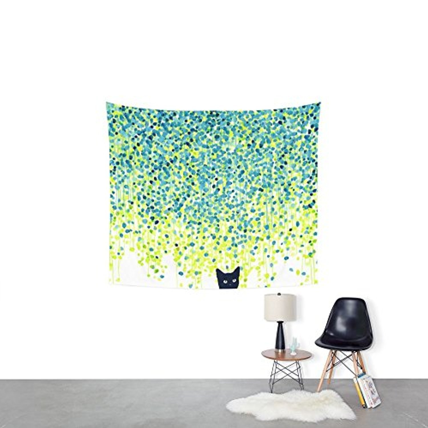 Society6 Cat In The Garden Under Willow Tree Wall Tapestry