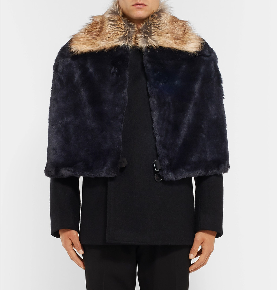 【VIPセール】DriesVanNoten★Two-Tone Faux Fur スカーフ Navy