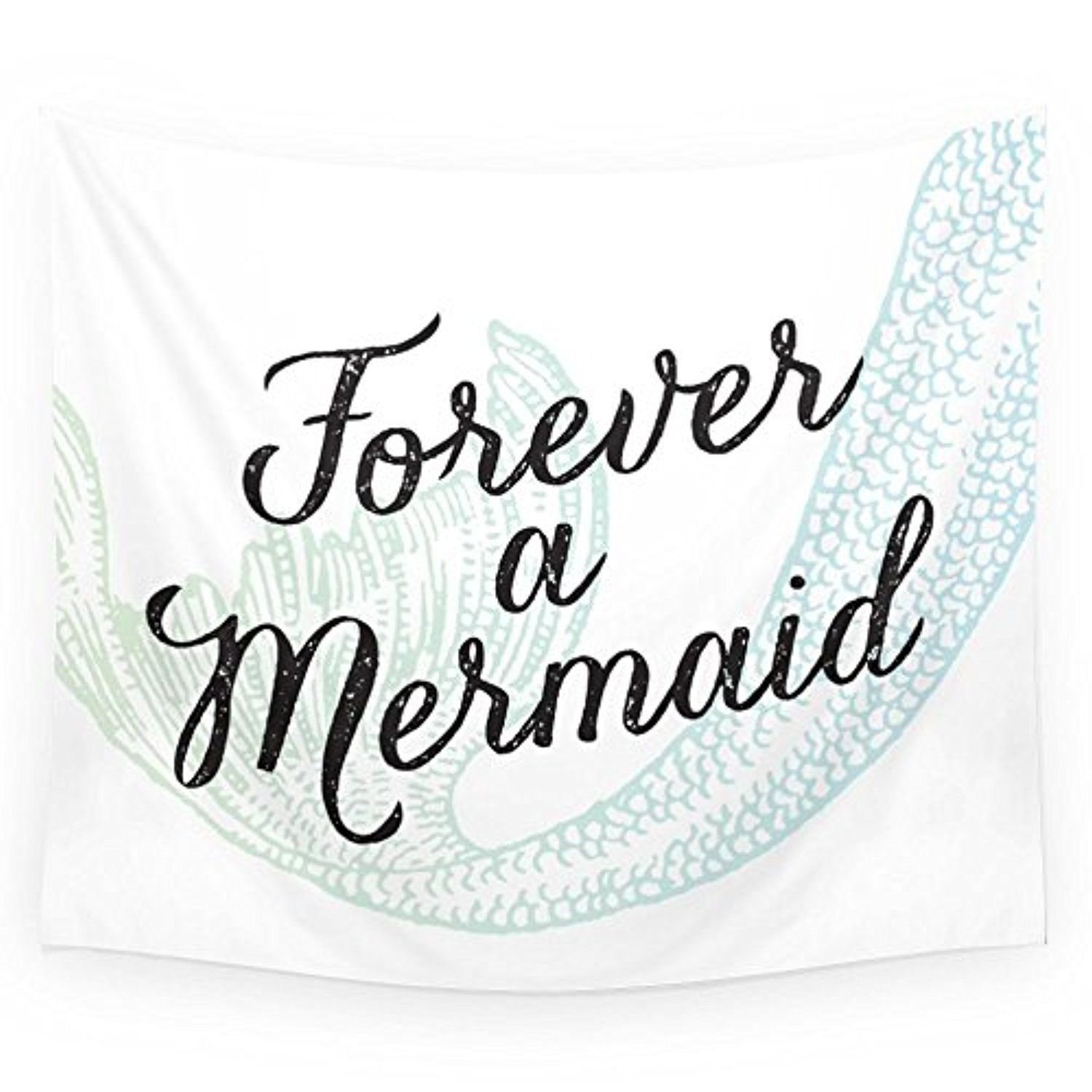 "Society6 Forever A Mermaid Wall Tapestry Medium: 68"" x 80"""