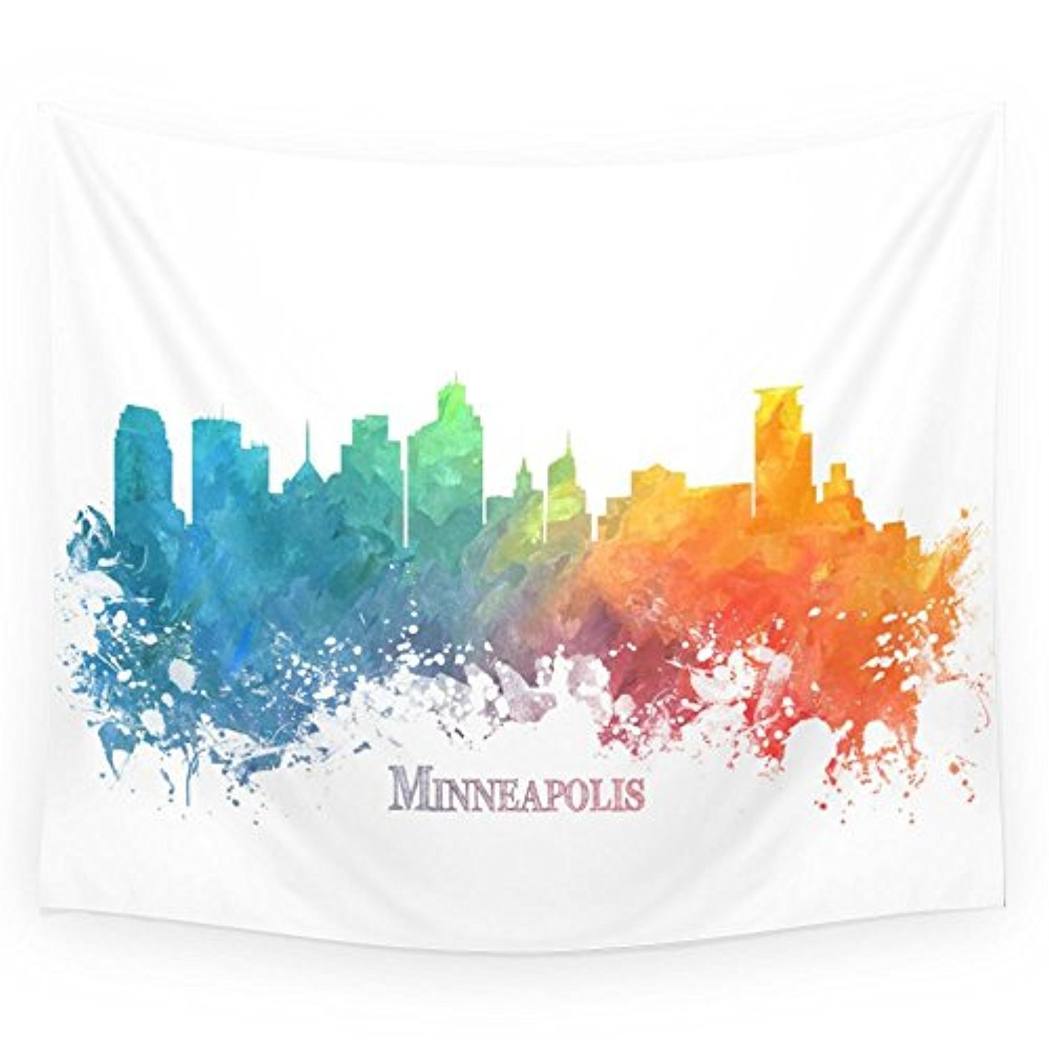 Society6 Skyline Minneapolis Colored Wall Tapestry Small: