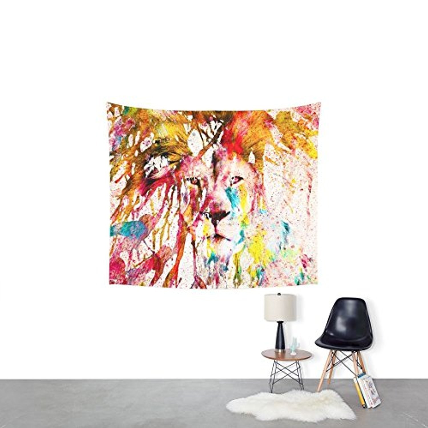 Society6 Wild Lion Sketch Abstract Watercolor Splatters