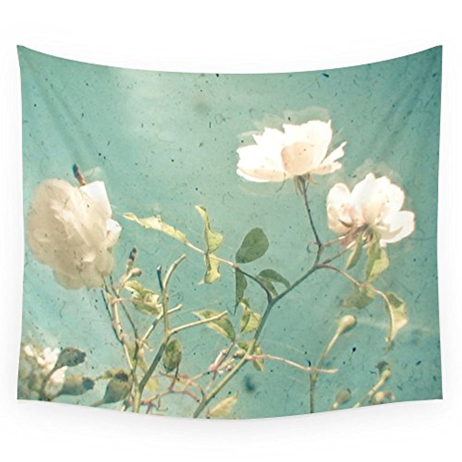 "Society6 White Rose Wall Tapestry Small: 51"" x 60"""