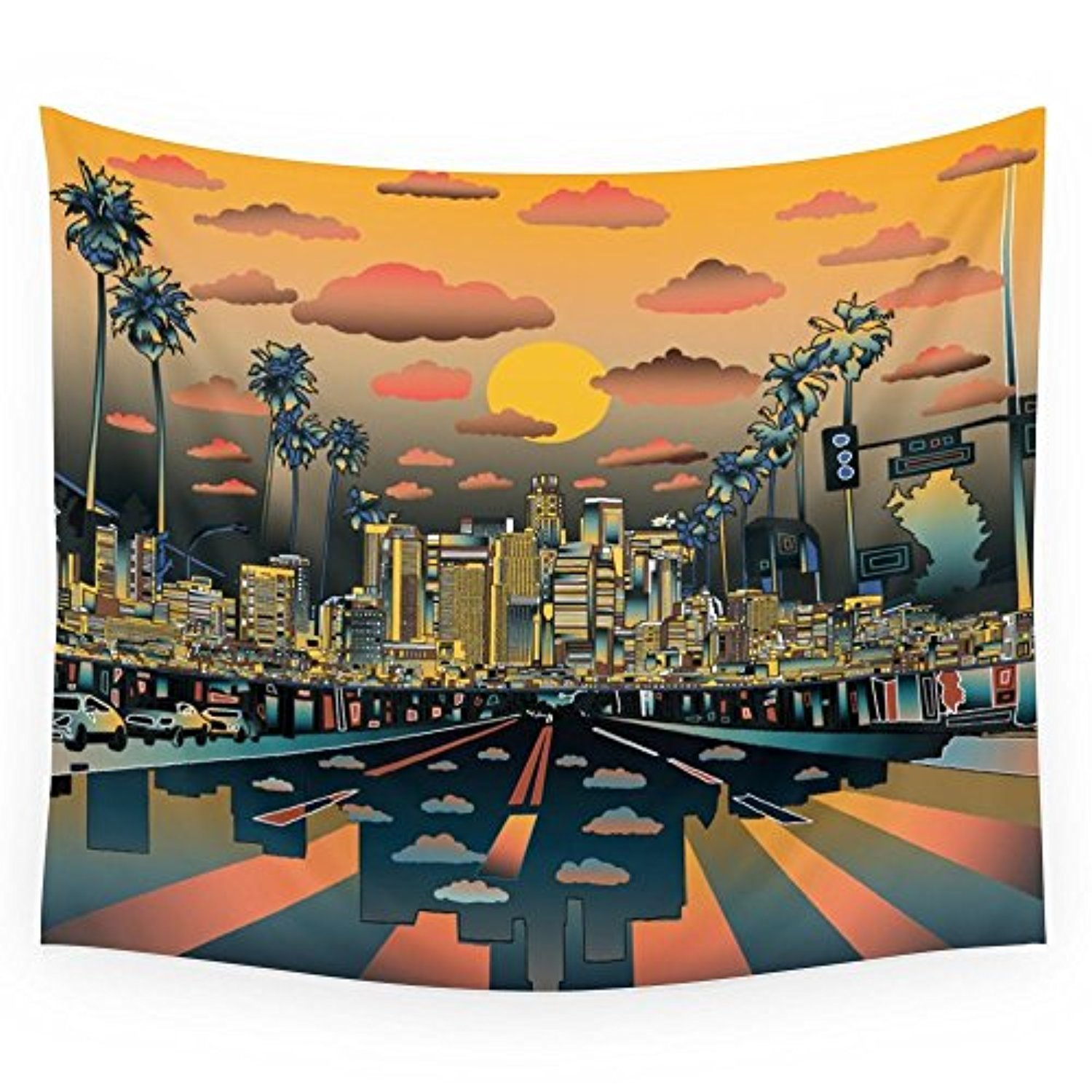 """Society6 Los Angeles City Skyline Wall Tapestry Large: 88"""""""