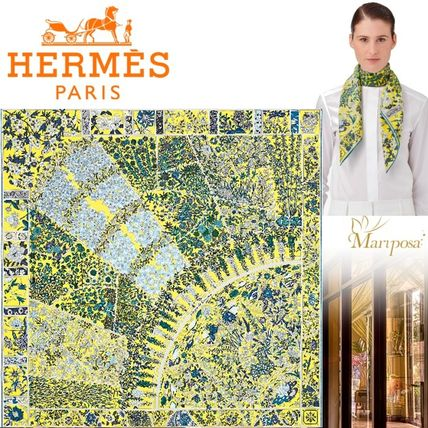 17AW【新作】エルメス♪Fleurs de Giverny scarf 90♪イエロー