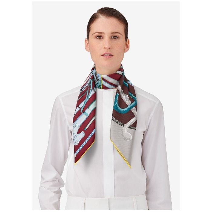 17AW【新作】エルメス♪Cannes et Cannes scarf 90♪ボルドー系