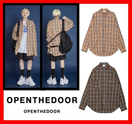 韓国人気【OPEN THE DOOR】nova check shirts ☆UNISEX★2色★