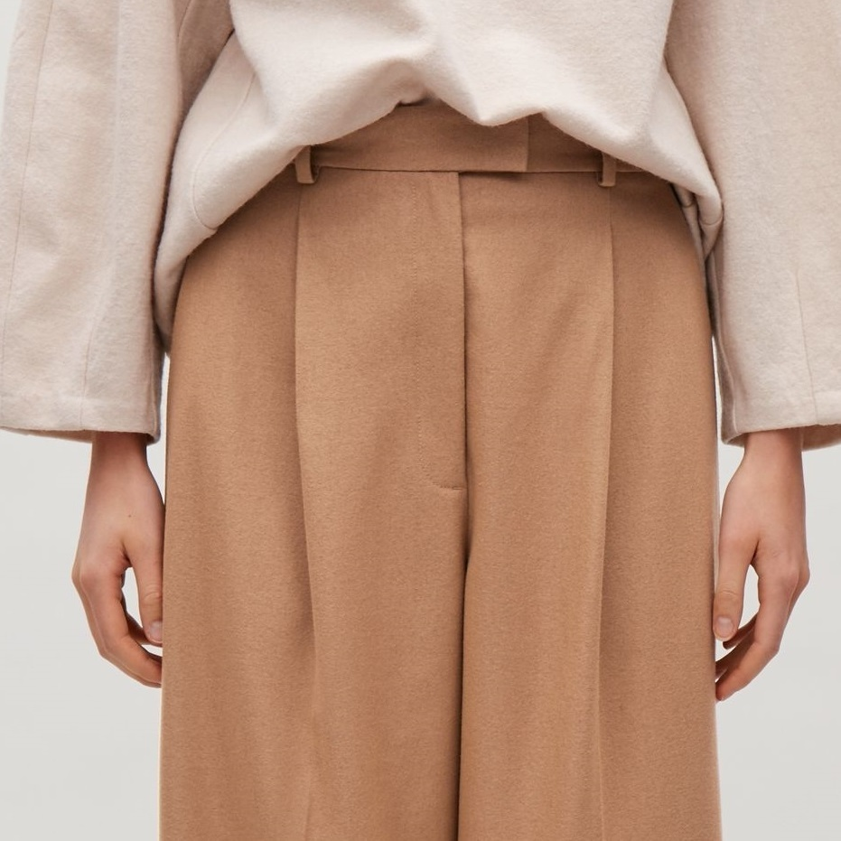 """""""COS""""HEAVYWEIGHT WOOL TAPERED TROUSERS BEIGE"""