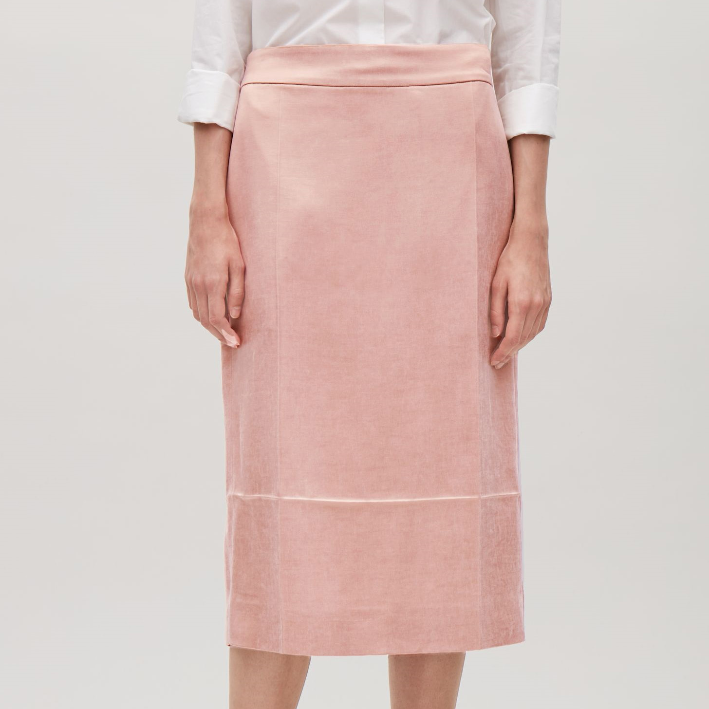 COS☆SATIN SKIRT WITH PRESS FOLDS / pink