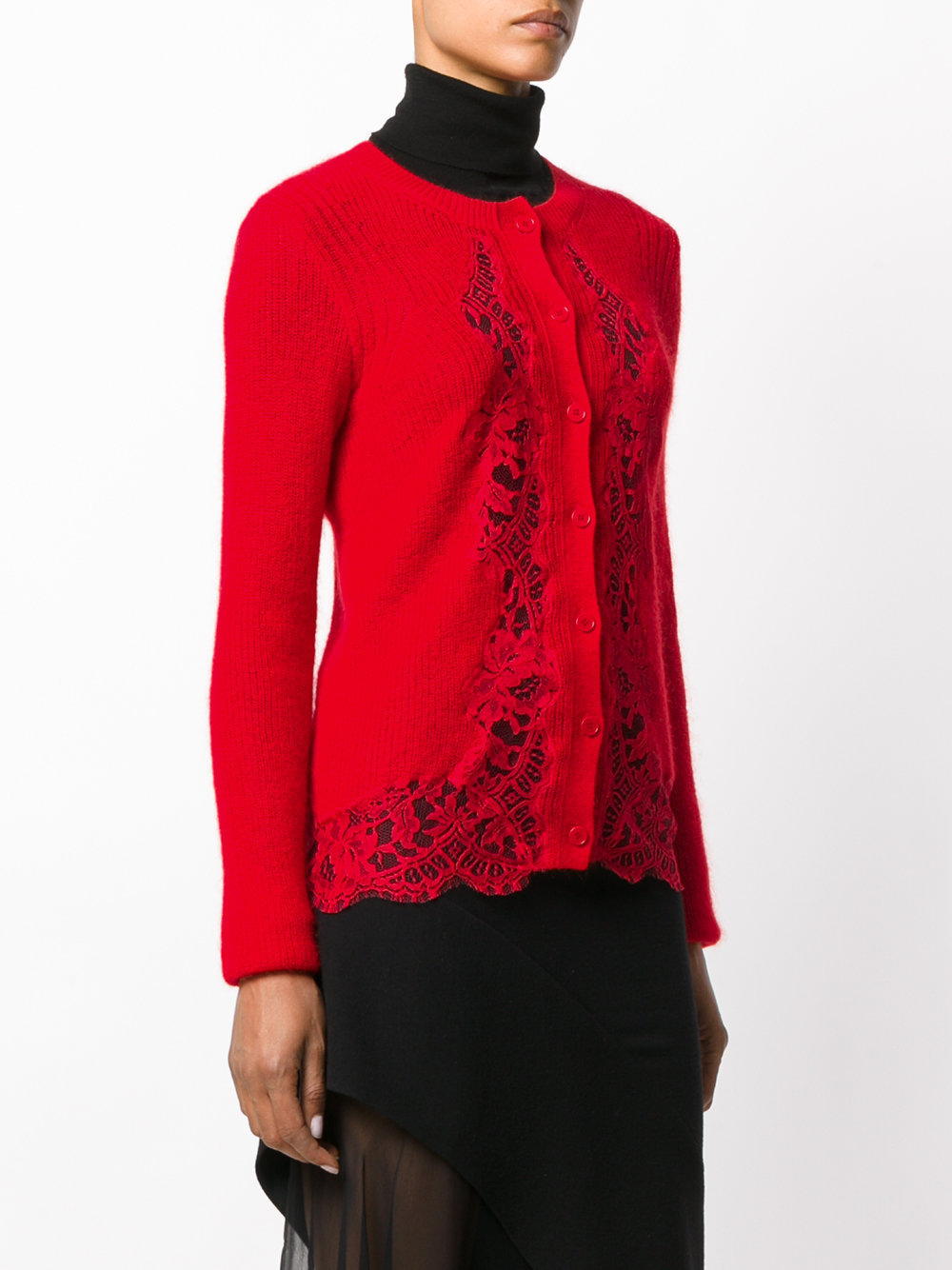 17-18AW G169 RIBBED KNIT CARDIGAN WITH LACE PANEL