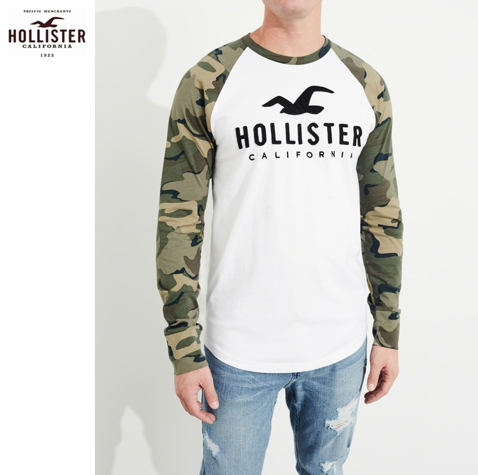★送料込★Hollister★Long-Sleeve Raglan Logo Graphic Tee★