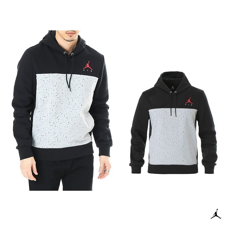新作!Nike JORDAN FLIGHT FLEECE Cement PULLOVER Hoodie Black