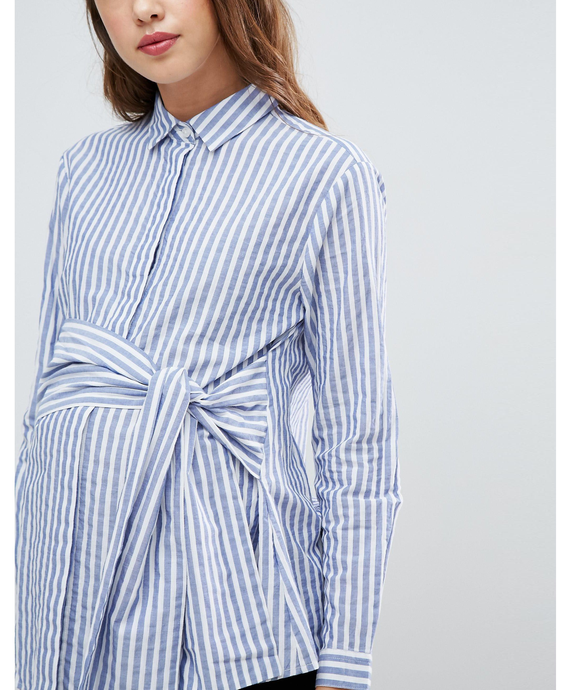 ☆ASOS Maternity Tie Waist Shirt in Stripe