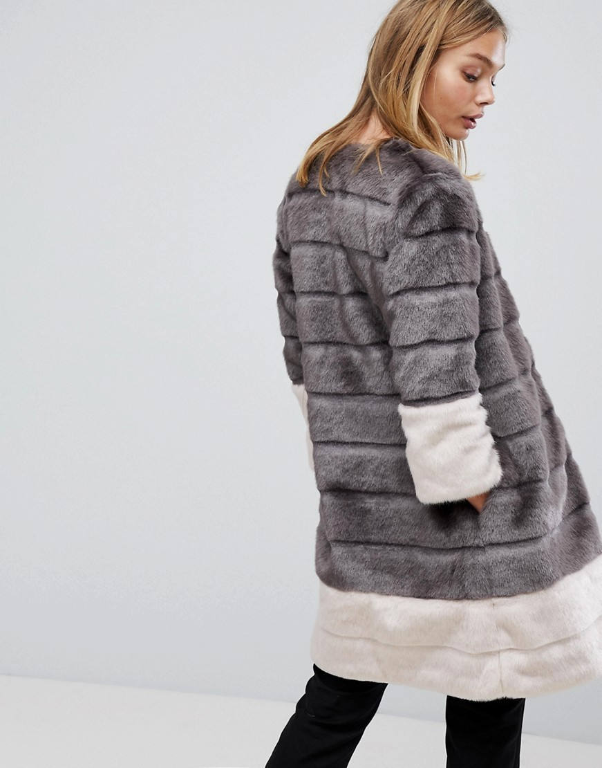 Ted Baker Faux Fur Jacket in Colourblock