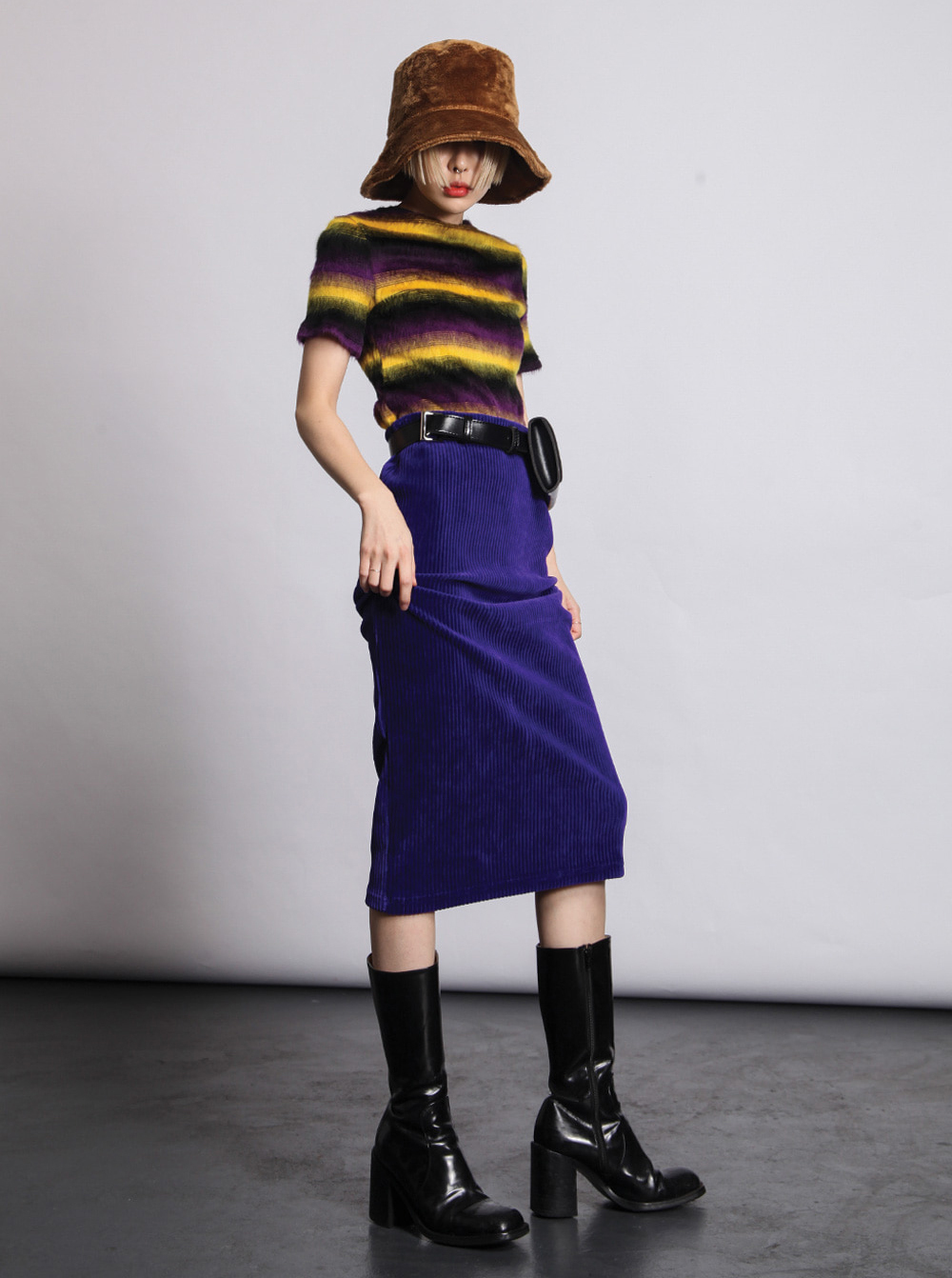 [OPEN THE DOOR]vivid corduroy midi skirt (3 color)
