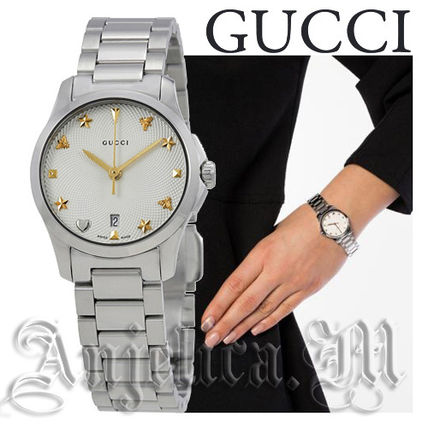GUCCI アナログ腕時計 ★追跡付き★GUCCI G-Timeless Silver Dial Stainless  YA126572(2)
