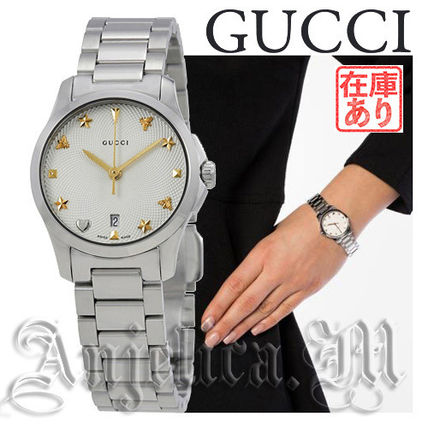 GUCCI アナログ腕時計 ★追跡付き★GUCCI G-Timeless Silver Dial Stainless  YA126572