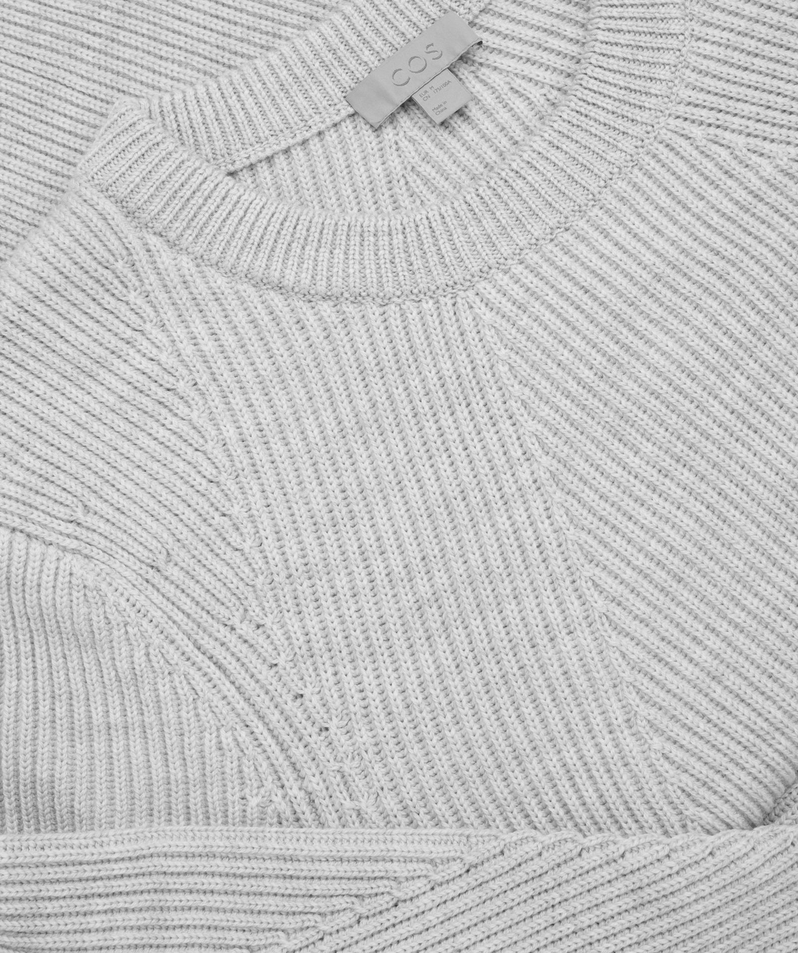 """COS MEN""RIBBED JUMPER WITH TRAVELLING DETAIL LIGHTGRAY"