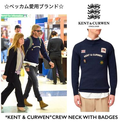 **ベッカム愛用*【KENT&CURWEN】CREW NECK WITH BADGES