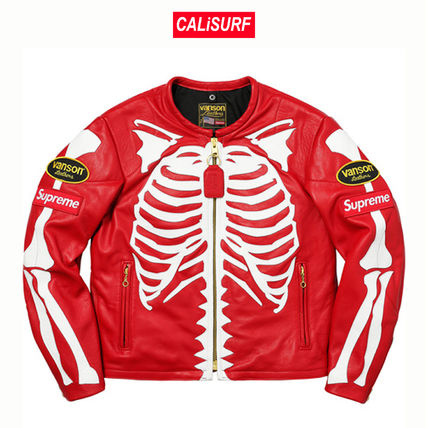 Supreme レザージャケット 登坂くん着用★Supreme/VANSON LEATHER BONES JACKET /RED(2)