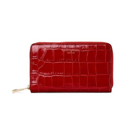 Aspinal of London Midi Continental Clutch Zip Wallet 赤