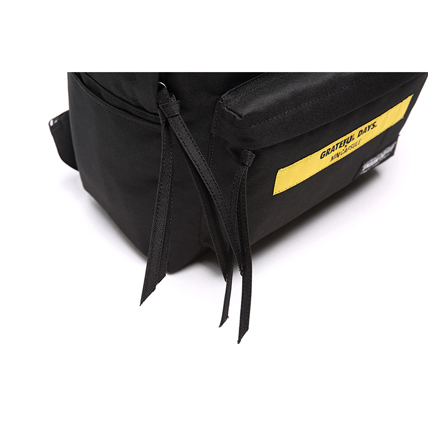 [UNION OBJET]☆チェーン付きCANVAS BACKPACK YELLOW LOGO BLACK
