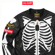 SIZE S★Supreme/VANSON LEATHER BONES JACKET/BLK