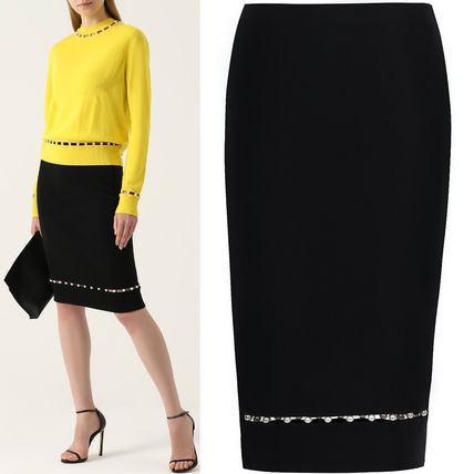 17-18AW G176 PEARL EMBELLISHED PENCIL SKIRT