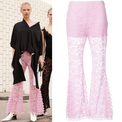 17-18AW G185 LOOK26 RUFFLED FLORAL LACE FLARE PANTS