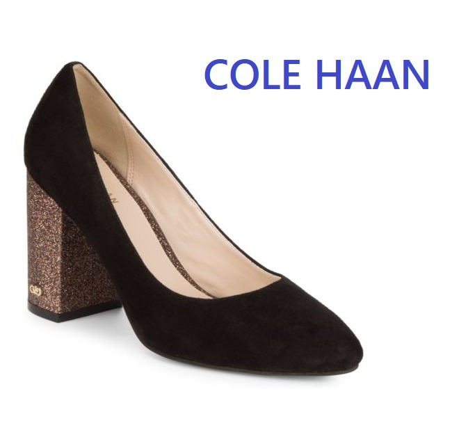 セール!Cole Haan Alanna Suede Pumps 85mm/ Black グリッター