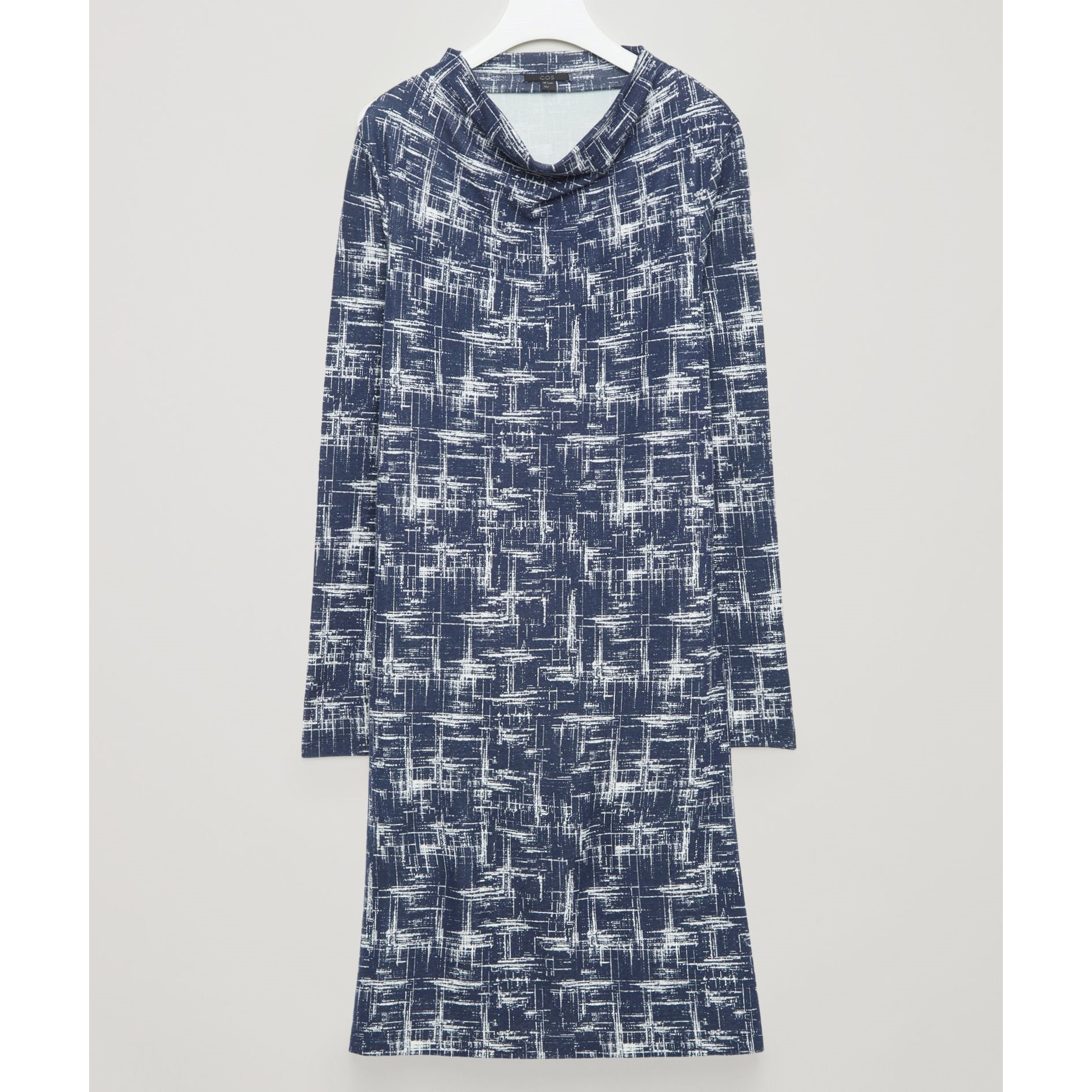 COS☆A-LINE DRESS WITH GROWN-ON NECK / navy