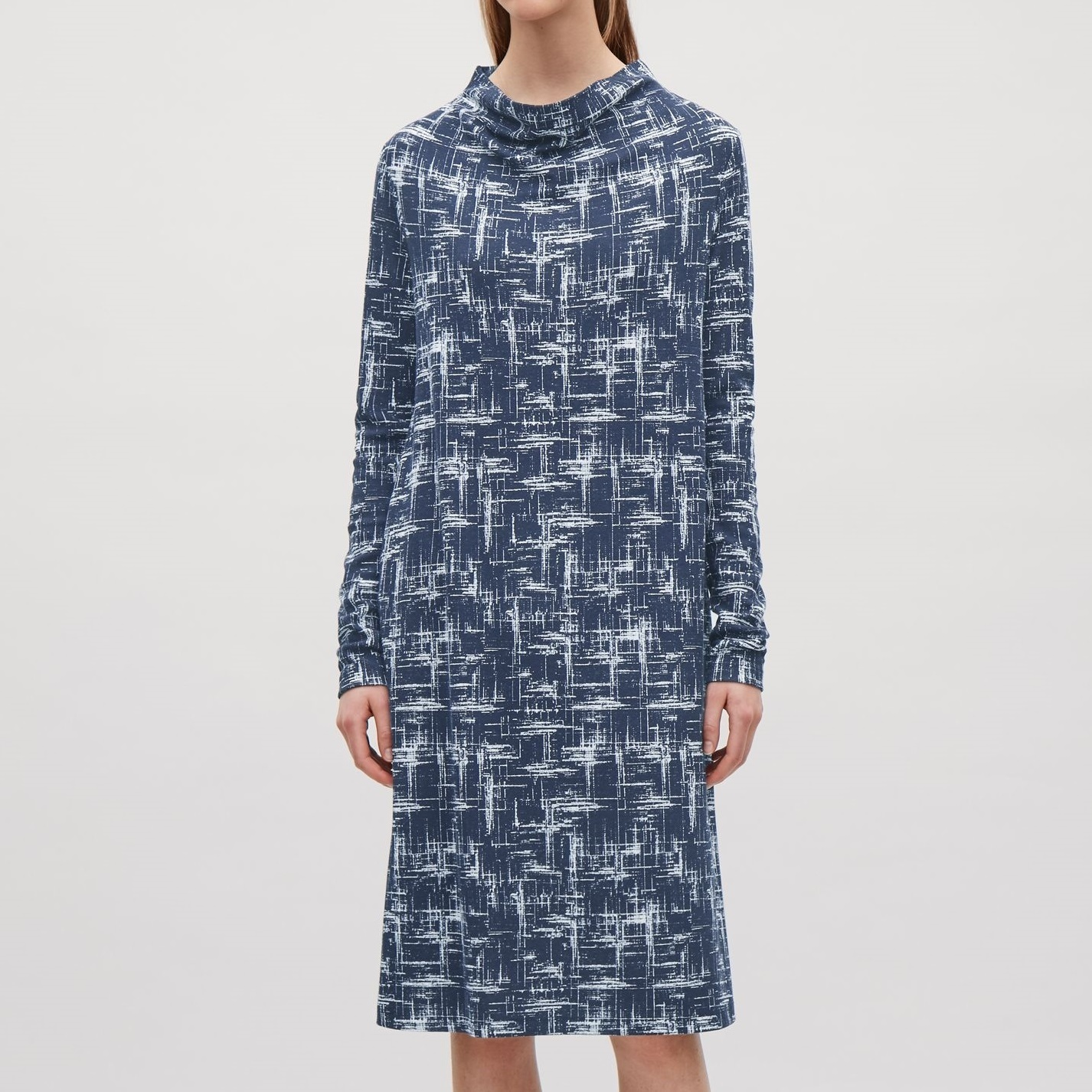 """""""COS""""A-LINE DRESS WITH GROWN-ON NECK NAVY"""
