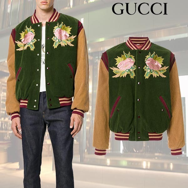 【17AW】GUCCI/アングリーキャットジャケット Green & Camel