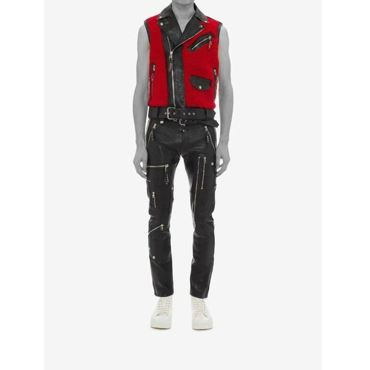 *Alexander McQueen*Shearling and Buffalo Leather Biker Vest