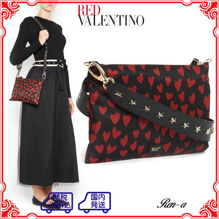 ★RED VALENTINO★ハートプリント ナイロンショルダーバッグ
