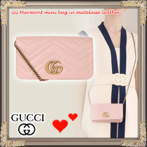 18SS★GUCCI★GG MARMONT レザー チェーンクロスボディバッグ