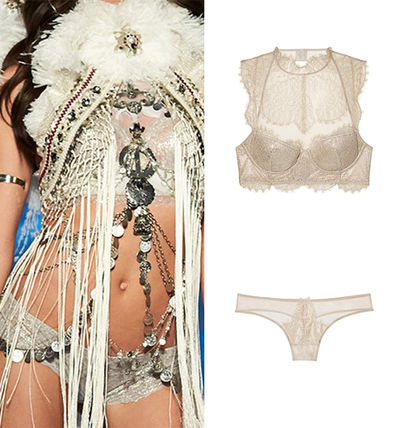 Chantilly Lace High-neck Bra / Chantilly Lace Thong Panty