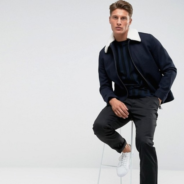 ★ASOS★ French Connection Wool Harringon with Borg Collar