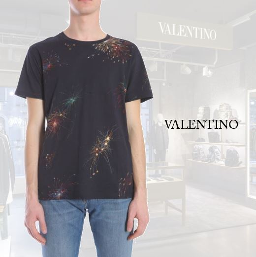 【VALENTINO】FIREWORKS PRINTED COTTON T-SHIRT