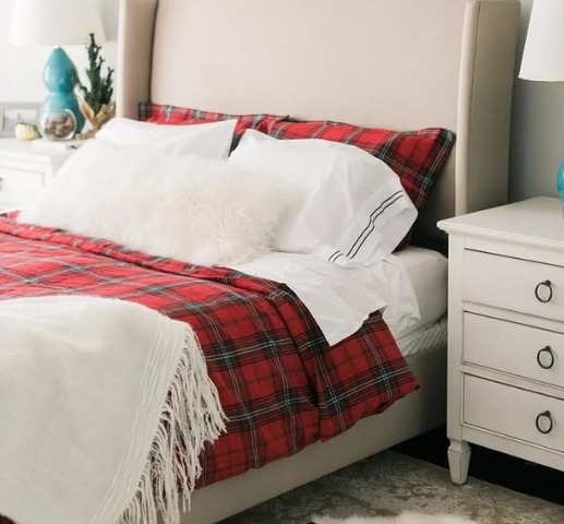 アメリカの人気★Tartan Bedding Red, Ian Duvet Cover (Queen)