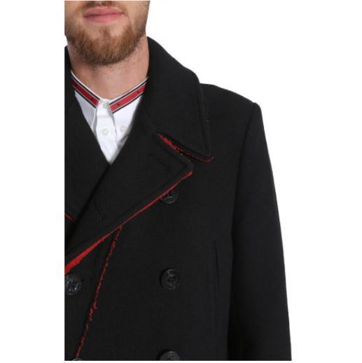 【GIVENCHY】DOUBLE BREASTED TWILL COAT WITH CONTRAST DETAIL