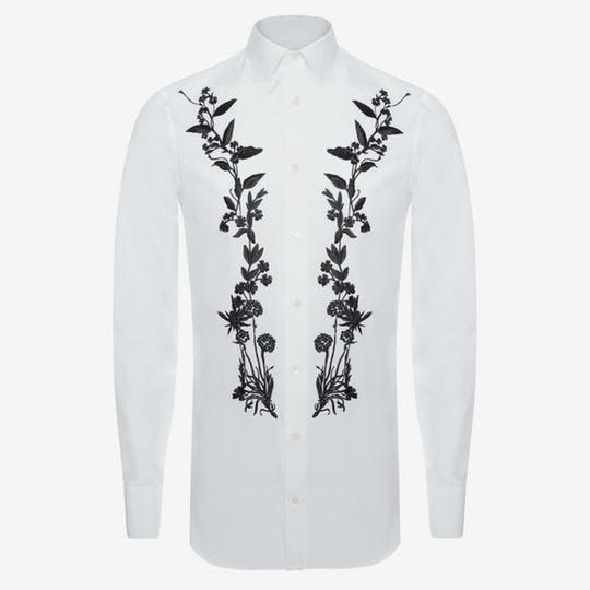 *Alexander McQueen*Floral Embroidered Shirt 花刺繍シャツ 白