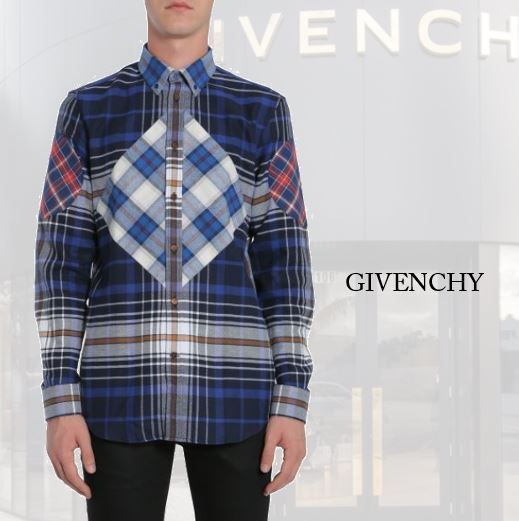【GIVENCHY】CUBAN FIT COTTON FLANNEL SHIRT GRAPHIC INSERTS