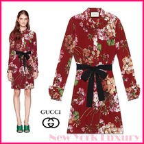 GUCCI★グッチ★素敵! Red BLOOMS FLORAL BELTED SHIRT DRESS