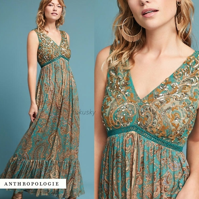 【Anthropologie】セール★送料込★ペイズリー柄マキシPaisley